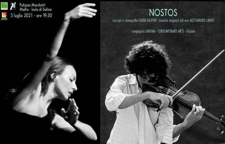 """Salina: """"Nòstos"""", la performance di Silvia Giuffrè e Alessandro Librio"""